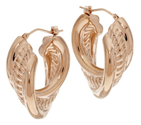 """As Is"" Oro Nuovo Polished & Rope Design Hoop Earrings, 14K"
