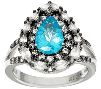 """As Is"" Graziela Gems Apatite & White Zircon Sterling Ring, 2.00cttw - J327041"