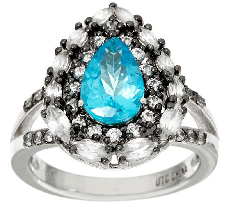 """As Is"" Graziela Gems Apatite & White Zircon Sterling Ring, 2.00cttw"