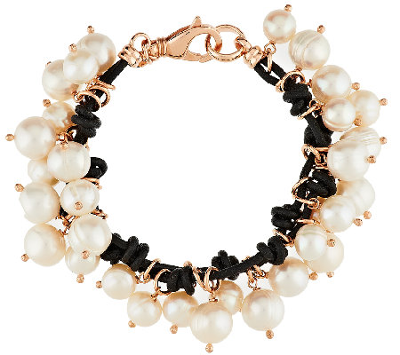 """As Is"" Honora Cultured Pearl Dangle Bronze Leather_Charm Bracelet"