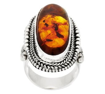 """As Is"" Suarti Artisan Crafted Sterling Amber Elongated Beaded Ring - J327541"