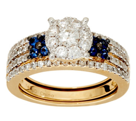 """As Is"" Cluster Design Diamond & Sapphire Ring Set, 14K, 1 ct by Affinity"