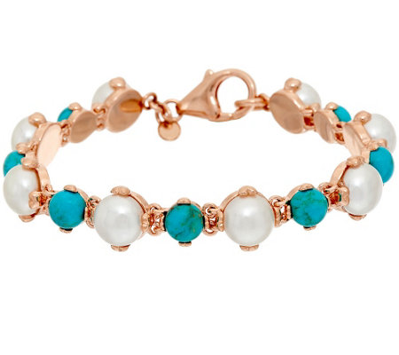 """As Is"" Honora Cultured Pearl Turquoise Bronze Line Bracelet"