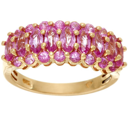 Marquise & Round Pink Sapphire Band Ring 14K, 1.55 cttw