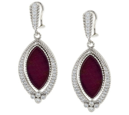 """As Is"" Judith Ripka Sterling 12.6ct. Ruby & 8/10 ct. DMQ. Drop Earrings"