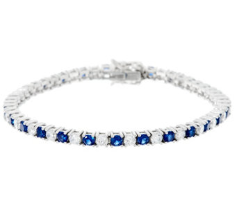 Diamonique & Simulated Gemstone Tennis Bracelet, Sterling - J330441