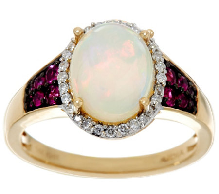 Ethiopian Opal and Precious Gemstone Ring 14K Gold 1.75 cttw