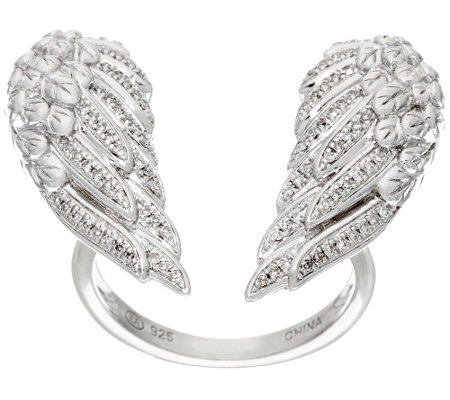 """As Is"" Open Angel Wing Diamond Ring, Sterling,1/5ct by Affinity"