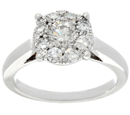 Round Diamond Cluster Ring, 14K, 9/10 cttw, by Affinity