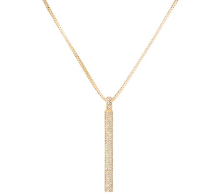 "H by Halston 36"" Necklace with Pave Pendant"