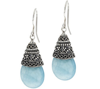 """As Is"" Artisan Crafted22.00 cttw Milky Aquamarine Earrings - J332041"