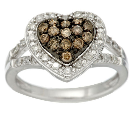 """As Is"" Champagne & White Heart Diamond Ring, Sterl, 1/2 cttw"