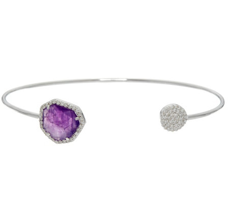 Diamonique and Gemstone Cuff Bracelet, Sterling
