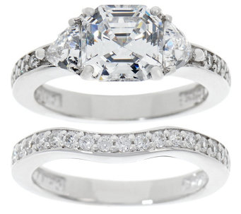 diamonique 290 cttw asscher bridal ring set platinum clad j333941 - Qvc Wedding Rings