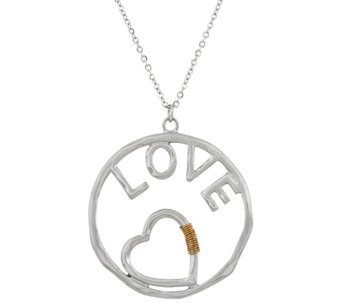 "Stainless Steel Hammered Inspirational Pendant with 30"" Chain - J335341"
