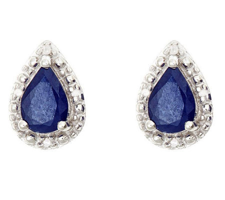 Sterling Pear-Shaped Fancy Stud Earrings w/ Diamond Accent