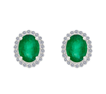 Premier 8x6mm Oval Emerald & Diamond Stud Earrings, 14K