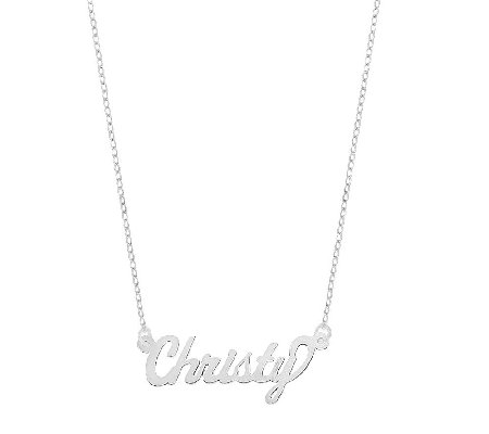 "Sterling 18"" Polished Personalized Name Plate Necklace"