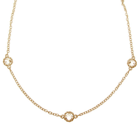 "Judith Ripka Sterling/14K Clad Diamonique 20"" Station Necklace"