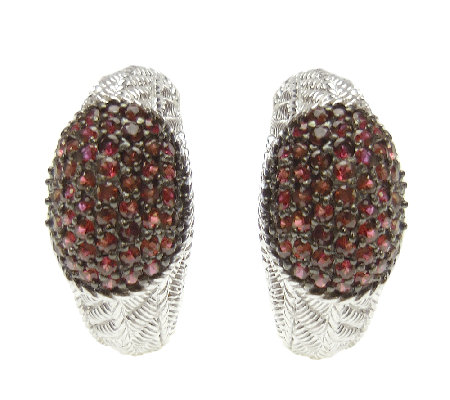 Judith Ripka Sterling Textured & Ruby Half J-Hoop Earrings