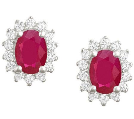 Premier 7x5mm Oval Ruby & Diamond Earrings, 14K