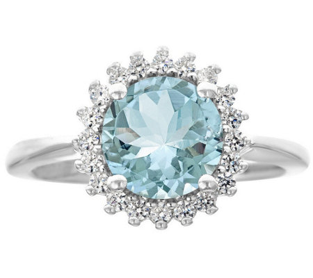 Premier 1.50cttw Round Aquamarine & Diamond Ring, 14K