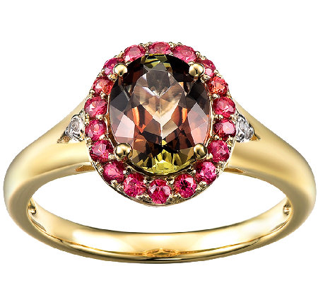 1.70cttw Andalusite & Orange Sapphire Halo Ring, 14K Gold