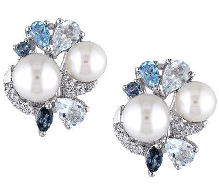 Sterling Blue Multi-Gemstone & Cultured Pearl Cluster Earring