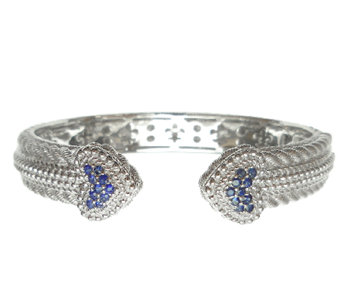 Judith Ripka Sterling Pave' Blue Sapphire HeartCuff - J339941