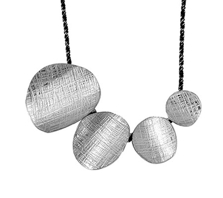 Sterling Textured Ovals Necklace by Or Paz