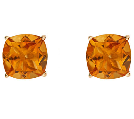 Cushion Gemstone Basket Stud Earring, 14K Gold