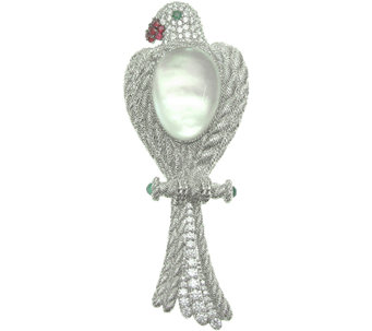 Judith Ripka Sterling Multi-Gemstone Bird Enhan cer/Pin - J340541