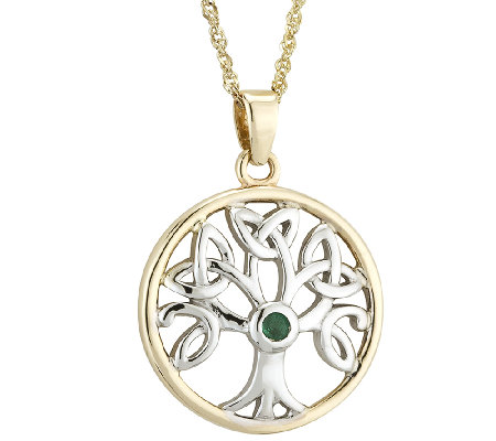 Solvar Two-Tone Family Tree Pendant 14K Gold