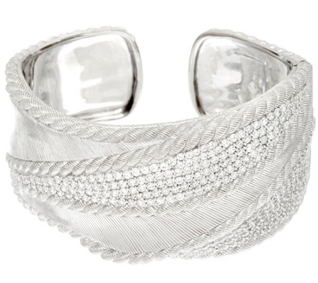 Judith Ripka Sterling 5.30 cttw Pave DiamoniqueTextured Cuff