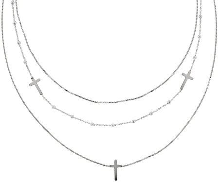 "Sterling 18"" Multi-Strand Sideways Cross Necklace"