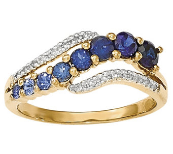 Simulated Gemstone Wave Ring, 14K Yellow Gold - J342241