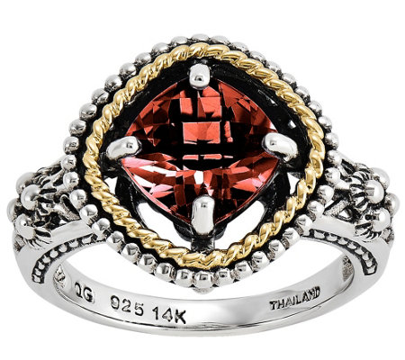 Sterling and 14K Gold Cushion-Cut Gemst one Ring