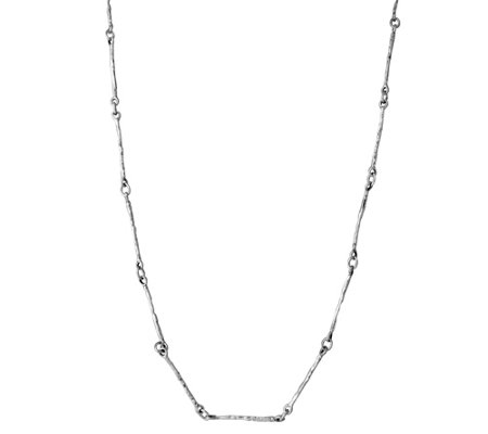 Sterling Silver Textured Elongated Link Necklace by Or Paz