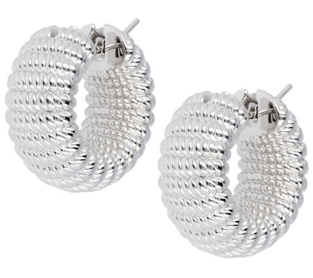 Arte d'Oro Ribbed Hoop Earrings, 18K