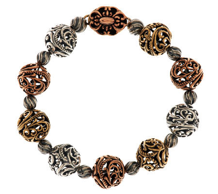 "Carolyn Pollack Mixed Metal 6-1/2"" Signature Bead Bracelet"