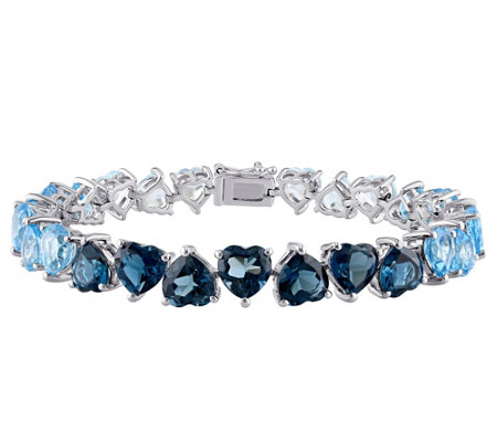 Sterling 37.40 cttw Shades of Blue Topaz OmbreBracelet