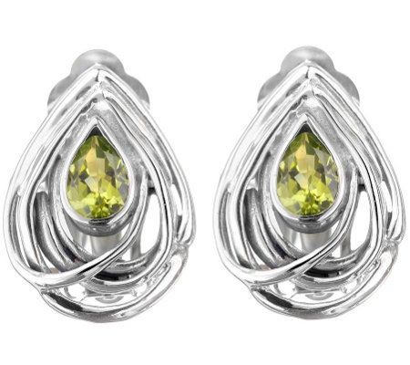 Hagit Sterling 1.00 cttw Peridot Earrings