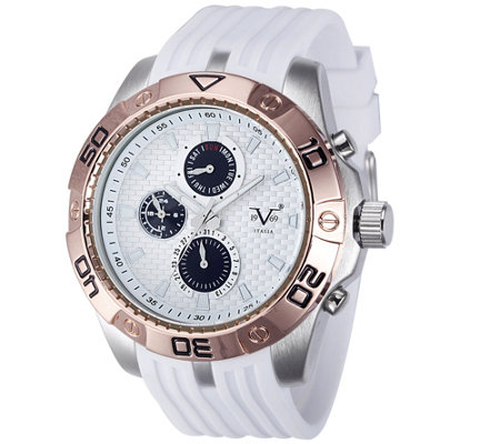 V19.69 Italia Men's White & Rosetone Watch w/ White Strap