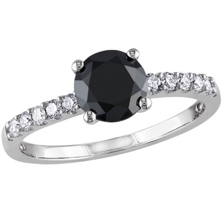 Round Black Diamond Ring, 14K, 1.20 cttw, by Affinity