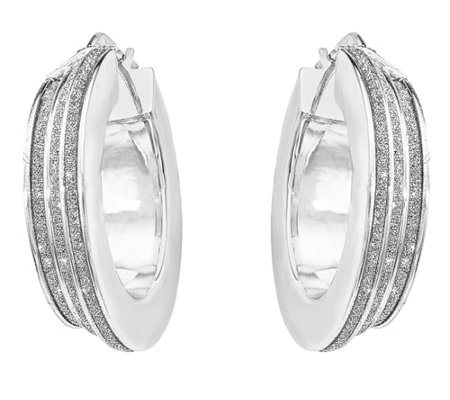 Sterling Polished Glitter Infused Hinged Hoop Earrings