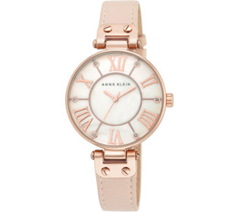 Anne Klein Pink Leather Strap Watch w/ GlitterAccents - J344741