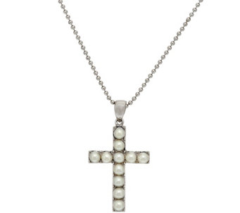 """As Is"" Honora White Cultured Pearl Large Sterling Cross Pendant w/Chain - J346641"