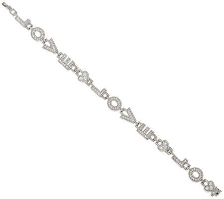 "Judith Ripka Sterling 7-1/4"" Diamonique Love Bracelet"