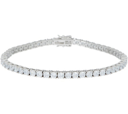 Diamonique 100-Facet Tennis Bracelet, Platinum Clad
