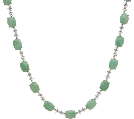 "Jade & White Zircon 18"" Sterling Tennis Necklace"